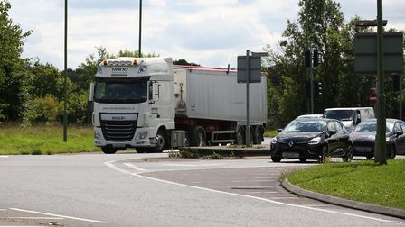 Drivers struggling to see traffic coming from the right as they exit the slip road from A1(M) northb
