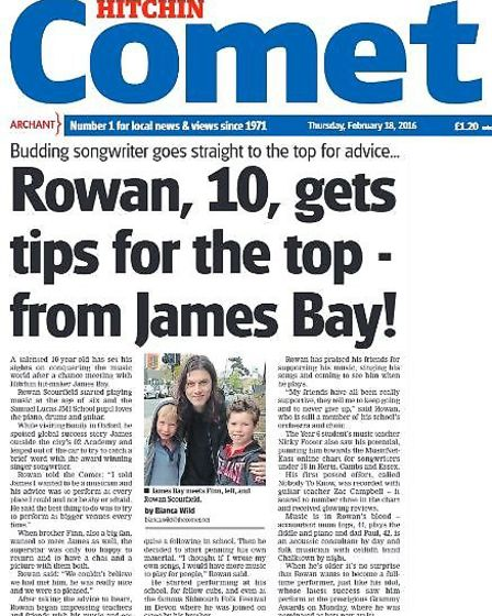 Rowan and Finn made the front page of the Comet in February last year after meeting James Bay,