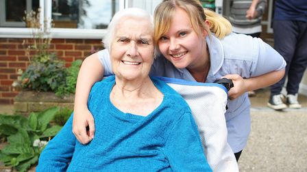 Guysfield Care Home Summer Fete: Doreen Marsden and care assistant Sarah Orchard. Picture: Karyn Had