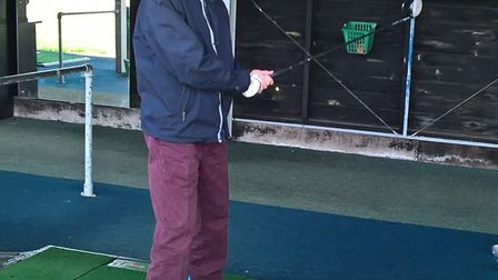 Letchworth's Ian Aitken on the driving range at Chesfield Downs Golf Club in Graveley. Picture: Home
