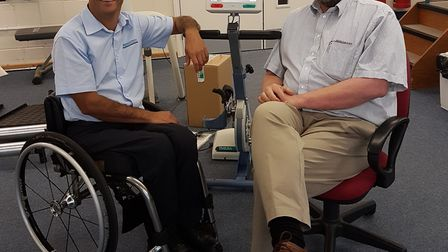 Herts MS Therapy Centre chief executive Mark Boscher, right, with Medicotech owner Shukri Mansour. P