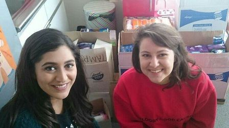 Sanya Masood and Sophie Harrold are collecting sanitary products to help people in need.