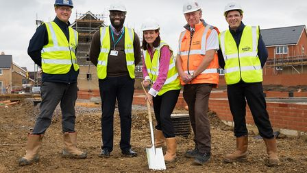 Bovis site manager Stuart Mitchell, Stonewater sales executive Victor Inegbese, Stonewater developme