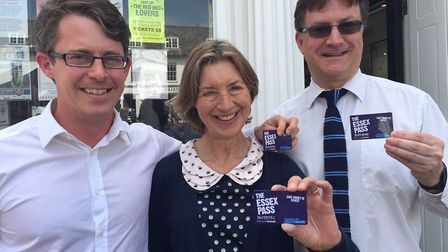 Jonathon Moore of Essex Pass, left, with Carole Cowell and Mark Starte from Saffron Walden Tourist I