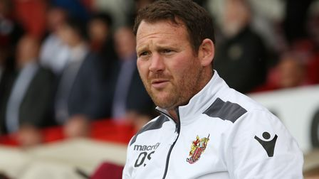 Stevenage manager Darren Sarll has been analysing the Newport match. Picture: Danny Loo