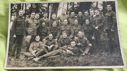 Lionel Kemp at far right, probably with Machine Gun Corps comrades. Picture: Hilary Kemp