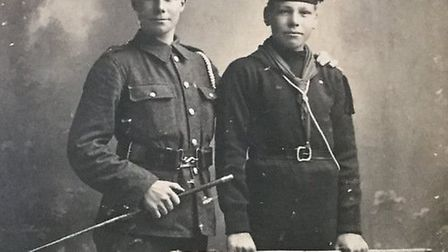 Lionel Kemp, left, and his younger brother Kenny shortly after they enlisted. Picture: Hilary Kemp