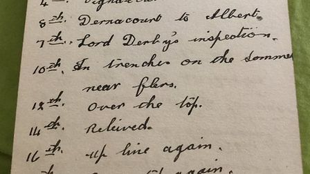 Lionel Kemp's diary entries for October 1916, in the trenches of the Somme - including the three-wor