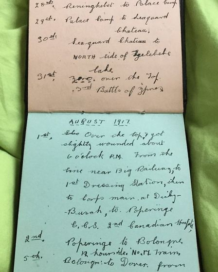 July and August 1917 entries in Lionel Kemp's diary, detailing the start of the Third Battle of Ypre
