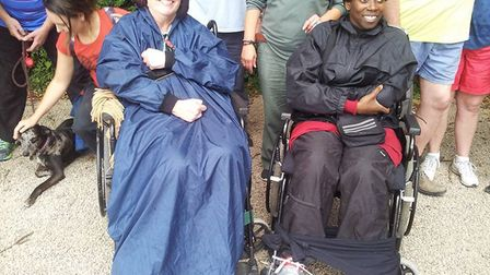 Hope for Justice fundraisers Clare Oakley and Ruth Green, who were wheel-chaired 13.6 miles around t