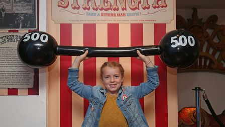 Darcy Stockley, 8 in Stevenage museum's new interactive fairground exhibition. Picture: Danny Loo