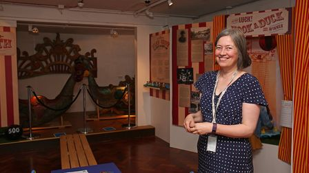 Stevenage museum curator Jo Ward in the new fairground exhibition. Picture: Danny Loo