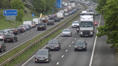 Traffic on the A1(M) in Stevenage.