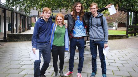 Students at Letchworth's St Christopher School celebrate receiving their A-level results. Picture: S