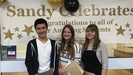 Students at Sandy Upper School celebrate receiving their A-level results. Picture: Sandy Upper Schoo