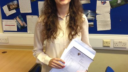 Joyce Frankland pupil Emily Rendell who gained four A star grades in maths, further maths, chemistry