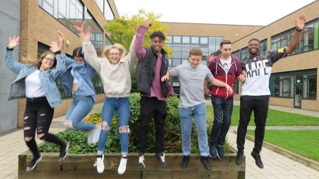 Marriotts School pupils celebrating their A-level