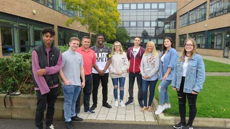 Pupils celebrating their results today at Marriotts School.