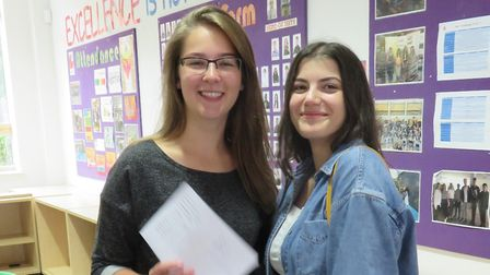 Alkida Dara and Katie Moore celebrate receiving their A-level results at Stevenage's Marriotts Schoo
