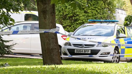 Police on the scene at St Paul's Church in Letchworth.