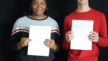 Barclay's Megan Eweka and William Clarke with their GCSE results.