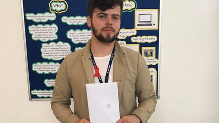 New NHC student president and level 3 public services student Mitchell Holloway achieved a C in GCS