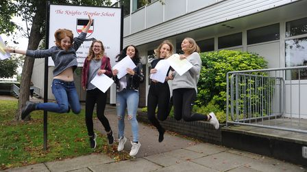 Girls at Baldock's Knights Templar School celebrate getting their GCSE results. Picture: Knights Tem