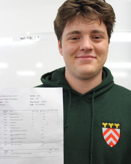 Luis Fernandes with his A-level results at Letchworth's Highfield School. Picture: Highfield School