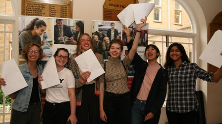 Girls at St Francis' College in Letchworth celebrate receiving their A-level results. Picture: St Fr