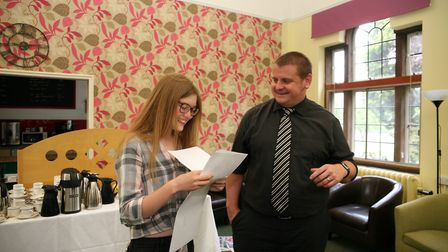 Grace Twitchett and head of sixth form Mr Dan Carr at St Francis' College in Letchworth. Picture: St