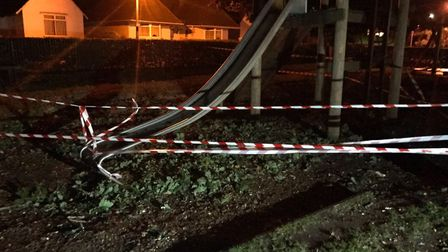 The slide in Letchworth's Howard Park, cordoned off on Saturday evening. Picture: North Herts Distri