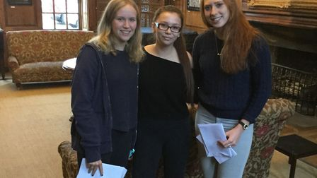 Princess Helena College's Isabelle Kerr, Amelia Wong and Verity Wootton with their A-level results.