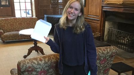 Isabelle Kerr from Princess Helena College with her A-level results. Picture: Princess Helena Colleg