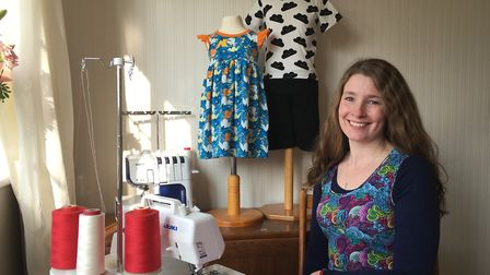 Ali Ribchester of Tutti Frutti Clothing in her dining room workshop at the family home in Letchworth