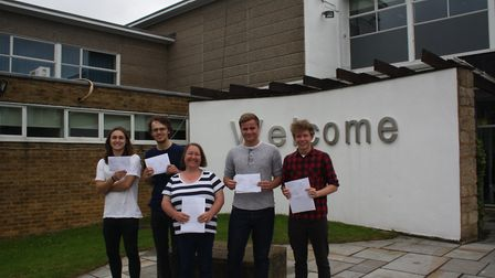 Pupils at Stevenage's The Barclay School celebrating the school's best results in three years.