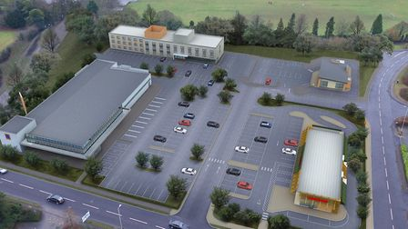 An artist's impression of the proposed development off Letchworth's Avenue One, including a McDonald