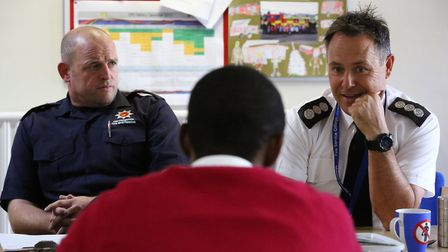 Watch commander Mark Burgess and station commander Bob Jackson talk with Hitchin and Harpenden MP Bi