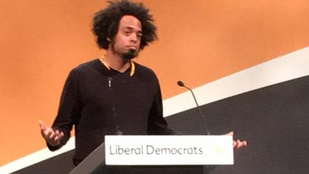 Hitchin Lib Dem member Sam Collins speaks about his town's pubs at the party conference in Bournemou
