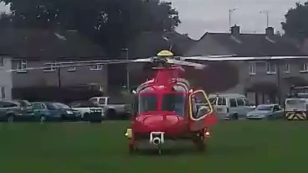 The Essex & Herts Air Ambulance on Stevenage's Hyde Green. Picture: Jo Ginger