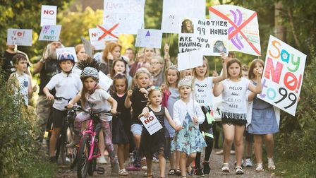 Villagers in Pirton protest against the plans in July. Picture: Rafe Abrook