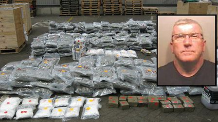 The drugs haul worth up to £2.5 million that was found in the lorry bound for Sandy. Inset, jailed d