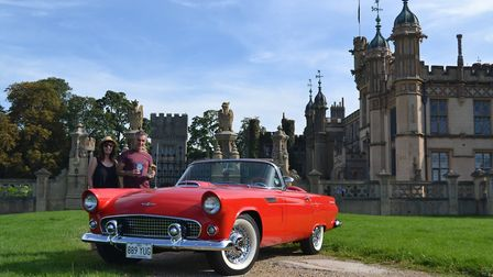 Mr Gary Neale from Dunstable with his 1956 Ford Thunderbird, celebrated his birthday and being award