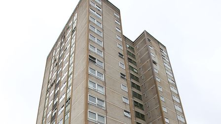 Harrow Court in Stevenage, where two suspected class A drug dealers were arrested this morning. Pict