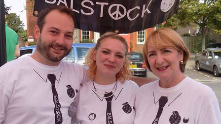 """Mother of Balstock"" Elaine LaRoche, far right, who tragically died from cancer in April, with Marc"