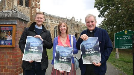 Rev Dan Drew, churchwarden Anne Senechal and Canon Michael Roden are launching a new Sunday morning