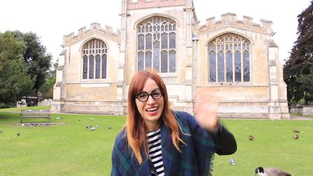 Isabel Carrasco says hello at the start of the Amigos Ingleses video in Hitchin. Picture: Amigos Ing