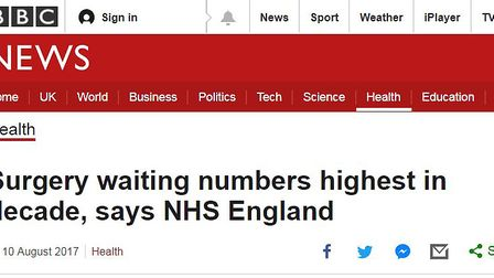 Recent BBC headline on the state of the NHS. Pic: BBC