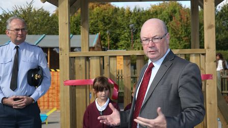 MP Alistair Burt talks to the crowd during the official opening of the new Pre-School at Derwent Low