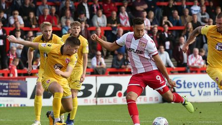 Kyle Wootton scores to put Stevenage ahead. Picture: Danny Loo