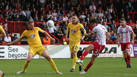 Jonathan Smith sees his shot blocked. Picture: Danny Loo